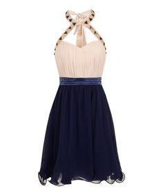 Loving this Little Mistress Cream & Navy Ruched Halter Dress on #zulily! #zulilyfinds