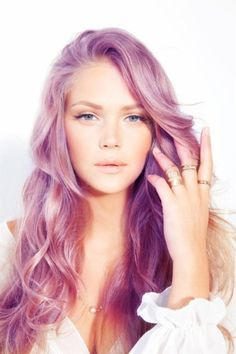 Lovely long hairstyle with fringe and soft purple colouring