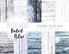 BLUE & WHITE WOOD Digital Paper Pack Commercial Use by ClipArtBrat