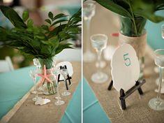 Beach Wedding reception table decor
