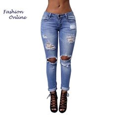 1040d334088 New Arrival 2017 Distressed Jeans For Women - Plus Size - free shipping  worldwide