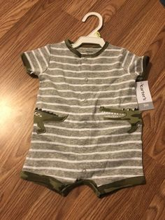 17d926e0b712 New Old navy 0-3 Month Infant One Piece Romper Green And White  fashion