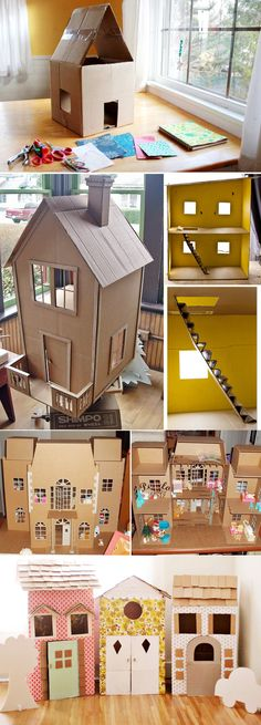 Discover thousands of images about Inspiration for doll houses. Barbie Furniture, Dollhouse Furniture, Diy Dollhouse, Cardboard Dollhouse, Fairy Houses, Play Houses, Diy For Kids, Crafts For Kids, Paper Houses