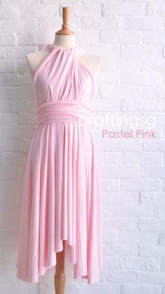Bridesmaid Dress Infinity Dress Pastel Pink Knee by thepeppystudio