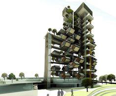 Kristi Bernick  Futuristic Vertical City Holds Plug-In Hexagonal Housing Units    Read more: Futuristic Vertical City Holds Plug-In Hexagonal Housing Units | Inhabitat - Sustainable Design Innovation, Eco Architecture, Green Building