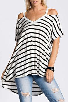 This striped top is so Chic & comfy! The stripes on the top make this a classic look! This flowy top is super soft and features a V-neck, hi-lo style with a cold shoulder. This will be your new favori