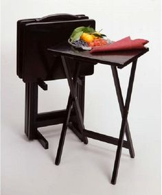 TV Trays Lap Dinner Tray Set With Stand Folding Tables Black Wood Finish 5 Piece #Winsome