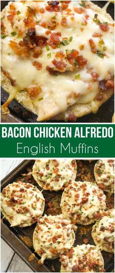 Bacon Chicken Alfredo English muffins are an easy dinner recipe or perfect party snack. These baked English muffins are loaded with shredded rotisserie chicken, bacon, cheese and Alfredo sauce. Best Chicken Recipes, Bacon Recipes, Diet Recipes, Cooking Recipes, Healthy Recipes, Sandwich Recipes, Easy Dinner Recipes, Appetizer Recipes, Recipes
