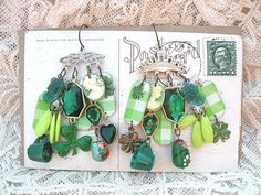 earrings mismatch st patricks assemblage cameo by lilyofthevally