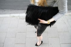 Black Goat Hair and Leather Clutch #streetstyle #bag #details