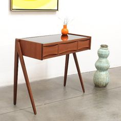 Danish Modern ARNE VODDER Teak Entry Chest Table Mid Century