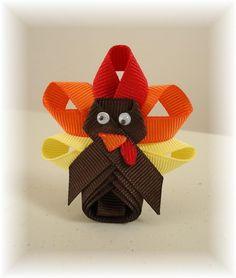 Cute turkey hairbow or pin
