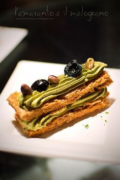 Italian millefoglie with pistachio and matcha cream, and sour cherry