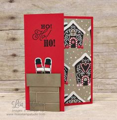 Cookie Cutter Christmas Video tutorial, supply list and cutting dimensions all included. Santa down the chimney card, Lisa's Stamp Studio, www.lisasstampstudio.com