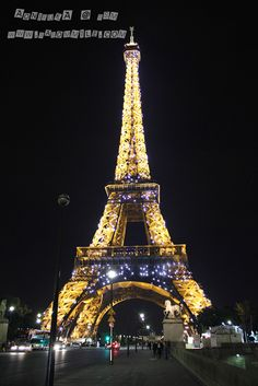 Eiffel Tower at night, Paris France