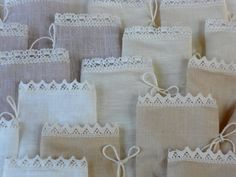 Reserved linen and lace favor bags