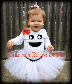 adorable infant toddler ghost tutu costume with hair bow newborn 3 months 6 months 9 months 12 months 18 months