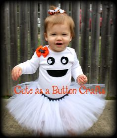 Adorable infant toddler Ghost tutu costume with hair bow newborn 3 months 6 months 9 months 12 months 18 months