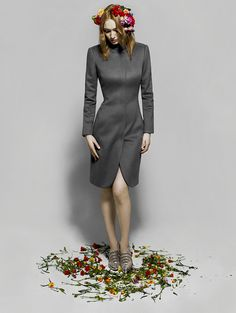 Eleanor Tomlinson wearing an Emporio #Armani coat and heels