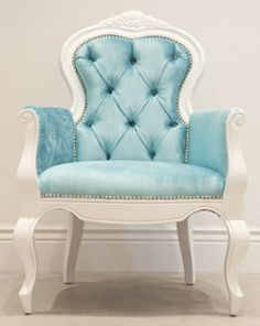 Tufted aqua chair  White with Tiffany Blue Bedroom Decor  in Master Bedroom Closet