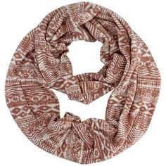 Luxury Divas Coral & White Native Aztec Print Lightweight Circle Infinity Scarf