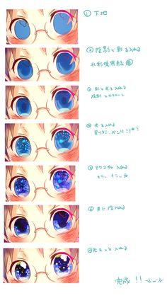 SAIでキラキラ目イキング Eye tutorial 电子 digital art