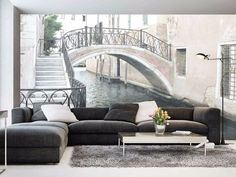 """Wallpapers are passé but not the incredible atmospheric Wallpapers by CreativeSpace (Italy) as this """"Level"""" by Giorgia Barbero 2017 Poster Mural, Mural Wall Art, Lines Wallpaper, Room Wallpaper, Wall Decor Design, Wall Art Designs, Mediterranean Living Rooms, 3d Foto, Deco Cool"""