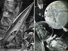Dark Roasted Blend: Retro Future: Space Art Update Space with a Wooly Mammoth