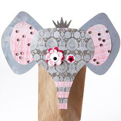 Kooky Elephant Puppet - Mismatch your puppet's eyes to give it extra kooky character. Sprinkle metallic glitter on a chipboard crown to create the elephant paper-bag puppet's scruffy hair.
