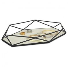 Brass plated jewelry tray with linen lining. Coordinates with the PRISMA family.