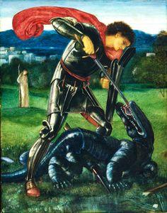 TTAQ: Slaying the Dragon, but the sword is fake! Pre Raphaelite Art: Edward Burne-Jones - Saint George fighting the Dragon detail Gouache, San Juan Diego, Patron Saint Of England, Gravure Photo, Pre Raphaelite Paintings, Saint George And The Dragon, Medieval Dragon, Pre Raphaelite Brotherhood, William Morris Art