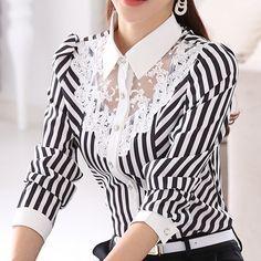 2017 New Women Lace Blouses Long Sleeve Lapel Striped Shirt Casual Fashion OL Work Tops Blusas Femininas Plus Size . Formal Blouses, Lace Blouses, Formal Shirts, Blouses 2017, Mode Pop, Camisa Formal, Striped Long Sleeve Shirt, Striped Shirts, Striped Tops