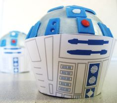 Star Wars R2D2 Cupcake Wrappers - Birthday, Shower, Bridal, Wedding. $12.00, via Etsy.