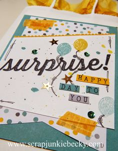 Use the Birthday Surprise set to create a cute gift bag! ~Becky Cowley