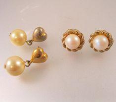 $7.50 Vintage Faux Pearl Pierced Earrings 2 Pair Vintage Earrings Vintage Jewelry