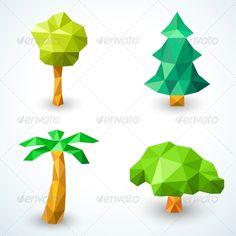 Set of Polygonal Origami Tree Icons