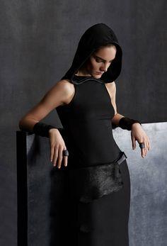 Urban Zen By Donna Karan - A/W 2015-16 Leather Trimmed Hooded Sleeveless Dress Shearling Belt Bag Black Leather Cuff