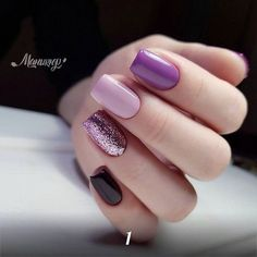 What Christmas manicure to choose for a festive mood - My Nails Fancy Nails, Trendy Nails, Cute Nails, Gelish Nails, My Nails, Purple Nails, Black Nails, Purple Glitter, Pink Purple