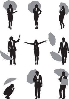 Vectores libres de derechos: Silhouette of business executives with umbrellas