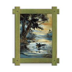 Framed in a rustic-style design, these distressed frames, are the perfect complement to the art they enhance two black bear cubs in a tree and one swimming in the lake below. Art by Mason Maloof Designs.