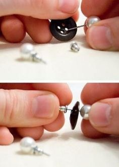 Use a button to keep pairs of earrings together. | 21 Ways To Make Your Broken & Boring Jewelry Sparkle Again by ^ kristen ^