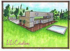 La superficie de cette maison est de 112m².. Le rez-de-chaussée est constitué de trois containers, 2 de 6m et un de 12m, il fait une surface de 28m². C'est aussi la surface du premier sauf qu'il est séparé en deux chambres de part et d'autre de la terrasse. Le dernier étage fait aussi 28m², ses deux petites terrasses représentent 8m² chacune.  (...) Le coût total  61000€.