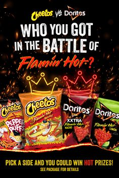 If you had to pick, would you choose flamin' hot Cheetos or flamin' hot Doritos?? Not sure? Have a side-by-side taste test. Find both at your local Hy-Vee or click to shop online. Chicken And Veggie Recipes, Cheetos, Good Burger, Doritos, Nutrition Tips, Recipe Using, Grilling, Snack Recipes, Good Food