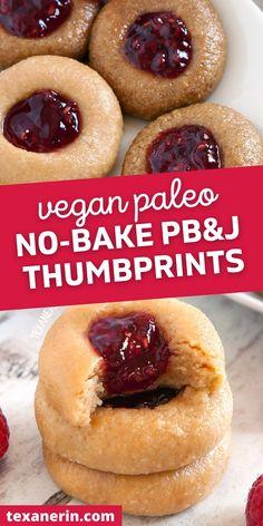 Vegan Gluten Free Desserts, Paleo Dessert, Vegan Food, Vegan Recipes, Healthy Baking, Healthy Foods, Bread Alternatives, Thumbprint Cookies, Seed Butter