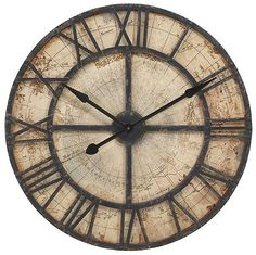 "Rustic Black Iron & Wood Map Wall Clock Parchment-Color Face Nautical Decor 31"" #Imax #Nautical"