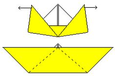 more paper boat folding instructions. this one w/ 2 different size options for center part.