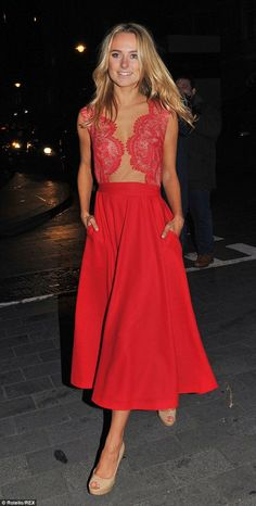 Red hot: Kimberley Garner once again braved the winter chill in a racy red dress as she attended the Cosmopolitan Ultimate Woman Awards after party on Wednesday night. Dress Skirt, Lace Dress, King Dress, Celebrity Style Inspiration, Fashion Inspiration, Kimberley Garner, Dress Meaning, Celebrity Dresses, Maternity Fashion