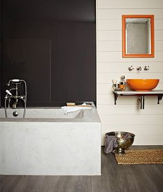 Crown Paints Bathroom paint, anti-mould technology to help keep walls cleaner for longer, resists steam and condensation. Bathroom Bath, Budget Bathroom, Bathrooms, Bathroom Ideas, Bathroom Interior, Scandinavia House, Bathroom Feature Wall, Tin Bath, Stairs In Kitchen