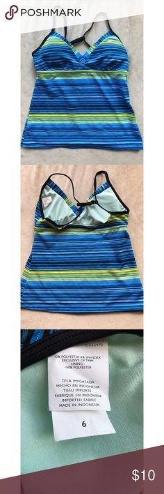 Nike Tankini swim top Blue and green Nike Tankini top. Perfect condition. Size 6. Bundle with other similar swimsuits in my closet for a better deal. Price firm unless bundled. Nike Swim