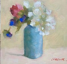 """Rosebud and Hydrangea by Carol Maguire Oil ~ 6"""" x 6"""""""